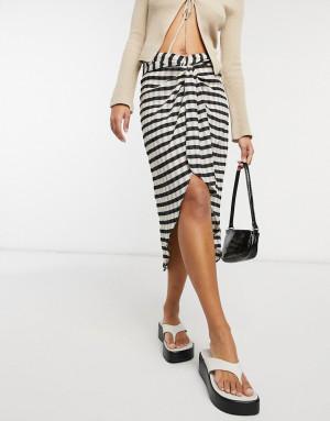 Фактурная юбка миди в черно-белую полоску с перекрученным декоративным элементом ASOS DESIGN-Многоцветный